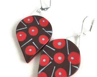 Mod color block earrings large teardrop unique light weight  clay brown and red