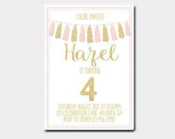 Pink and Gold Birthday Invitation   Pink Gold and Mint Birthday Invitation   Tassle Birthday Invitation