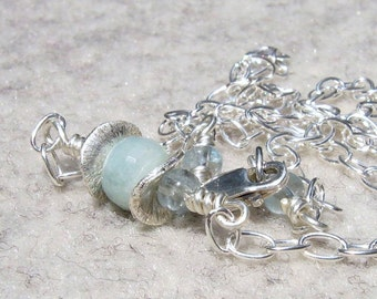 Aquamarine and Sterling Silver Ruffle Necklace