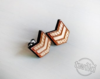 Wood chevron studs. With sterling silver or stainless steel posts. Wood chevron earrings, chevron jewelry, geometric earrings, geometric