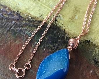 Genuine Blue Druzy Necklace