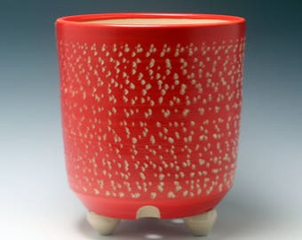 SALE Extra Large Handmade Bright Red and White Ceramic Utensil Holder (OR Planter) Carved Texture/ tripod feet/Ceramics and Pottery