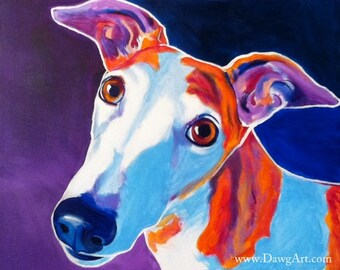 Greyhound, Pet Portrait, DawgArt, Dog Art, Pet Portrait Artist, Colorful Pet Portrait, Greyhound Art, Pet Portrait Painting, Art Prints
