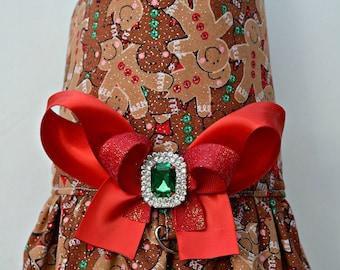 Dog Harness Vest - Glitter Gingerbread Bling Bow Harness - Christmas Sale