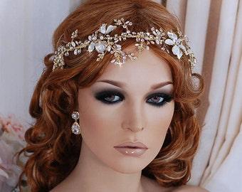 Bridal Vine Headpiece Wreath Party Hairpiece Gold Hair Head Piece Band Accessory Weddings Headband Bride Wedding Floral Wreaths Brides Gift
