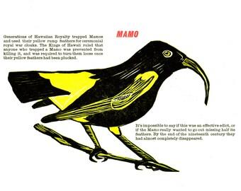 Woodcut and Letterpress Bird Print: The Mamo