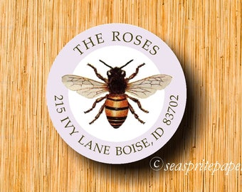Return Address labels/bee sticker/honeybee/printable labels
