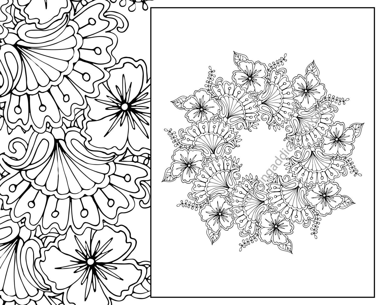 Floral Mandala Coloring Page Adult Digital