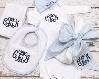 Newborn deluxe layette set, Infant bot gown blanket set, Swaddle blanket with bow, Newborn gown and cap set, 5 pc set baby boy set