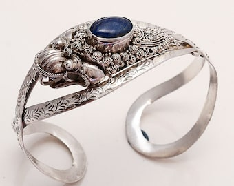 Handmade Vintage Old Natural Blue Afghan Lapis Lazuli Handcuff 925 Sterling Silver Handcuff Antique Retro Women Handcuff Handmade Jewelry AA