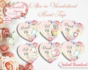 Digital Alice in Wonderland Eat Me, Drink Me Heart Tags - Printable Tags, Digital Download, Gift Tags, Collage Sheet, INSTANT DOWNLOAD