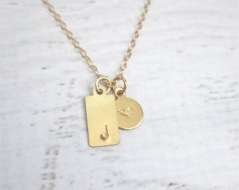 Tag and dot necklace, gold filled personalized necklace, modern personalized jewelry