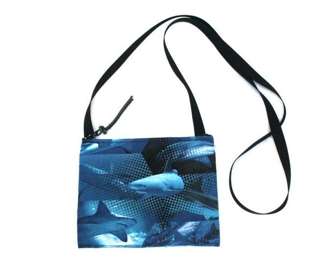 Mini crossbody bag - Shark fabric  perfect for travel or a night out!
