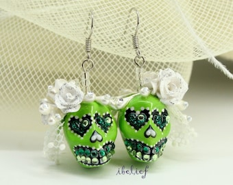 Skull in a-day is the day of the dead skulls bride earrings stone ES0075