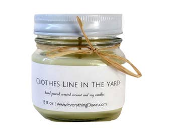 Scented Coconut Soy Candle In Clothes Line In The Yard Scent - Country Candles