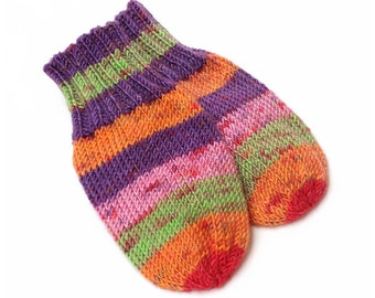 Wool-Free Thumbless Striped Baby Mittens. No Thumb, No Cord Knit Baby Mitts. Winter Mittens on String. Infant 9 to 12 Months Hand Warmers