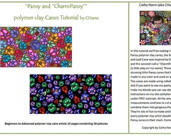 """Pansy and """"CharmPansy"""" Polymer clay cane tutorial by CHarm"""
