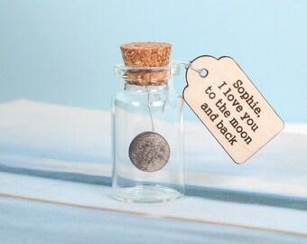 I Love You To The Moon And Back Keepsake Bottle - romantic keepsake - wedding favour - boyfriend gift - gift for him