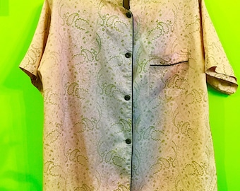 50s Asian Inspired Silky Pajama Top M/L