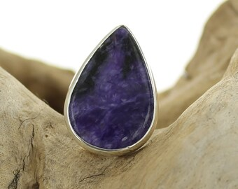 Silver ring with Charoite. Size 8.25. Natural stone