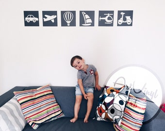 Wall decal. Set of 6 stickers
