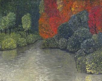 Original Oil Painting Autumn Trees