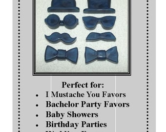 Set of 10 Gentleman's Soap Set, Men's Soap, Mustache Soap Set, Groomsmen Soap Set, Birthday Party Favor, Gender Reveal Favors