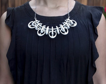 3d printed necklace | White bib necklace | Beaded necklace | Petal Necklace in White