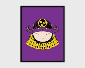 Japanese Samurai Warrior Print Pop Art Illustration Poster