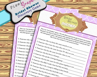 Bridal Shower Printable Game Guest Discovery Instant Download