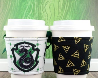 Harry Potter Cup Cozy // Slytherin House Cup Cozy // reversible // adjustable // cold drink cozy // drink sleeves // reusable