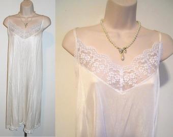 Vintage Cream Nylon Slip  ~ 1980's Feminine Silky Nylon Long Slip ~ Cream Full Slip ~ Vintage Slip ~ Lacy Full Slip ~  Size 42