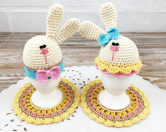 Set of 2 Easter Bunny Egg Warmers 2 Coasters, White Bunnies, Funny Egg Cozies, Spring Egg Cozies, Crochet Egg Hats, Easter Gift Set Coasters
