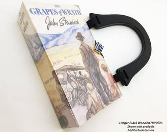 Grapes of Wrath Recycled Book Purse - Classical Literary Gift - John Steinbeck Repurposed Book - Book Cover Handbag - Book Clutch