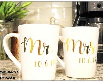 Mr. and Mrs. Coffee Mugs His and Hers Coffee Mug Custom Coffee Mug Personalized Coffee Mug Wedding Gift Bridal Shower Gift Set Of Mugs