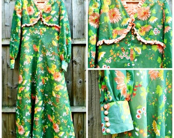 Vintage Dress - Maxi Dress - Floral - Prom - Party - Costume - 1970's