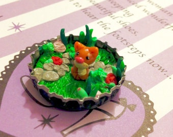 """MIniature """"Kiki The Kitten""""  Handmade Polymer Clay in Upcycled Bottle Cap!  Girl's Birthday Gift, Geeky Gift, Mini Collectables, Kawaii"""