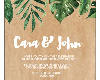 Floral + Leaves Green Tropical Engagement OR Save The Date