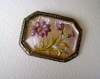 antique reverse painted iridescent flower brooch