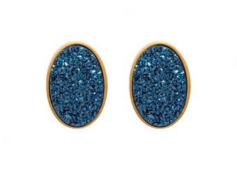 Druzy Stud Earrings - Druzy Studs - Royal Blue Druzy - Gold Studs - Large Oval Studs - Gold Stud Earrings