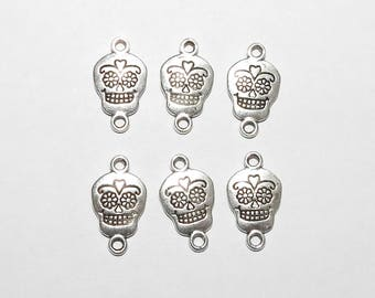 Six Sugar Skull Connector Charms Pendant SilverTone Day of the Dead Día de Muertos