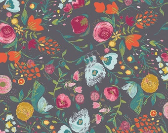 Gray Floral Quilt Fabric by Bari J. | Modern Floral Cotton Fabric Yardage | Budquette Nightfall | Emmy Grace | Art Gallery Fabric | EMG-5607