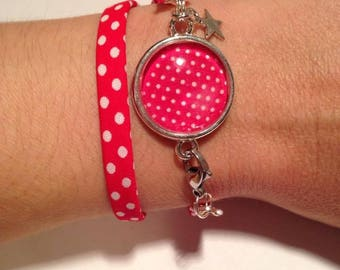 Jewelry Bracelets Support Cabochon & A Polka dot red and white fabric charms