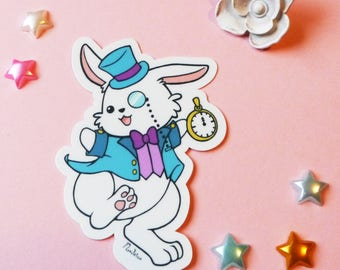 Vinyl Sticker: Alice in Wonderland White Rabbit Pastel