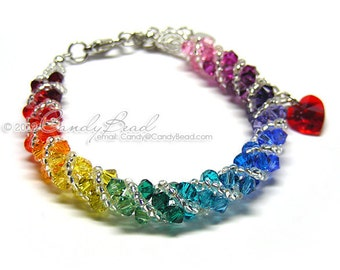SALE; Size 6 to 7 inches; Rainbow bracelet; crystal bracelet; Swarovski bracelet; Spectrum rainbow twisty Swarovski Crystal Bracelet