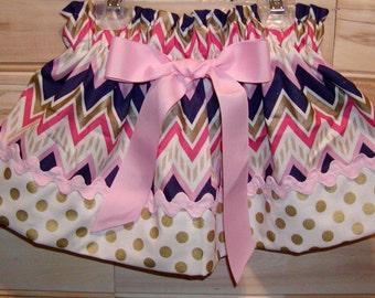 Girls skirt, Infant, toddler, Custom..Purple N Pink Chevron N Gold Dots..sizes newborn  to 10 girls
