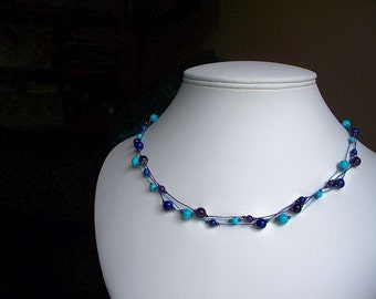 Intuition Necklace  ~  carefully hand knotted ~ Amethyst, Lapis Lazuli, Turquoise