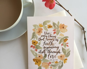 The Only Thing That Counts, Watercolor scripture card, blank, Galatians 5:6