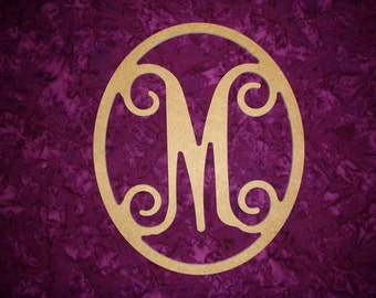 """Monogram Letter M Wood Cut Out Unfinished Wooden MDF Paintable Letters 12"""" Tall"""