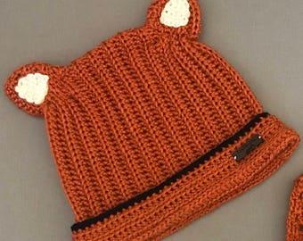 Handmade Crochet Fox beanie / Beanie With Ears